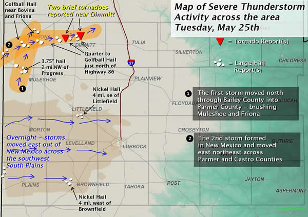 Map of severe thunderstorm activity on 25 May 2010.  Click on the image for a larger view.