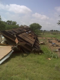 Damage near Turkey done by strong straight line wind early on June 14, 2010.