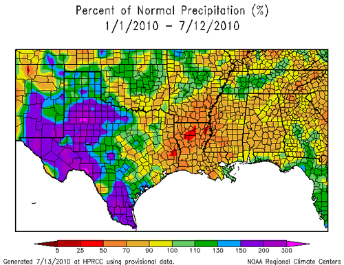 Map displaying the percent of normal precipitation that has fallen for the year to date through July 12th, 2010.  Click on the image for a larger view.