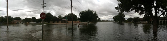 Photograph of a flooded park in southwest Lubbock
