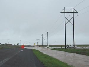 Flooding along U.S. Highway 280 in western Garza County