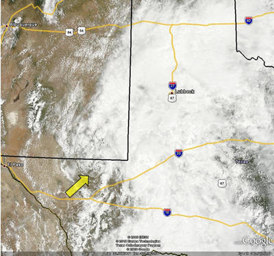 Satellite image of West Texas around midday on 3 July 2010