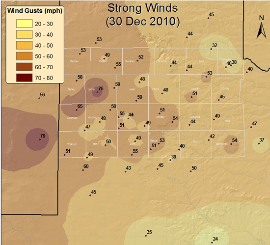 Map displaying the maximum wind gusts (mph) recorded across the South Plains region on Thursday, 30 December 2010.  The observations are courtesy of the West Texas Mesonet and the National Weather Service.