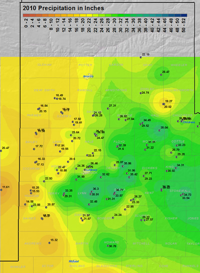 This map displays the 2010 year precipitation totals. The map was created with data gathered from the NWS Cooperative observers and the West Texas Mesonet. Click on the map to view a full-sized version.