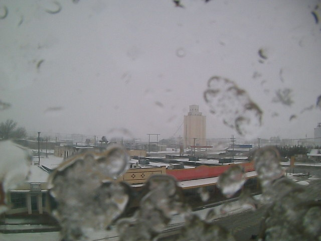 Picture of snow falling (and partially obscuring the view) at Muleshoe around 2 pm on Sunday, February 6, 2011.  The image is courtesy of KAMC.