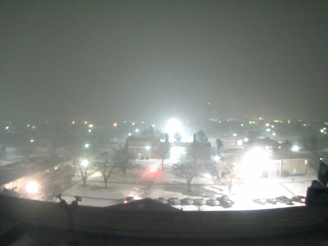 Image captured of snow falling in Plainview on Tuesday night (February 8, 2011).  The picture is courtesy of KAMC.  Click on the image for a larger view.