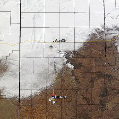 Visible satellite image on Tuesday afternoon (February 8, 2011).  Most of the white on the map represents low clouds, through areas of snow can be seen on the edge of the Caprock to the north-northeast of Lubbock. Click on the image for a larger view.
