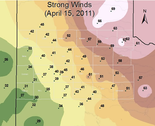 Map of the West Texas Mesonet wind gust reports for April 15 2011