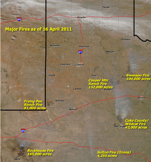 MODIS Satellite imagery of West Texas on the afternoon of Friday, April 16, 2011. Many burn scars and smoke plumes can be seen.  Click on the image to view a larger version. Image is courtesy of the NASA/GSFC, MOSDIS Rapid Response.