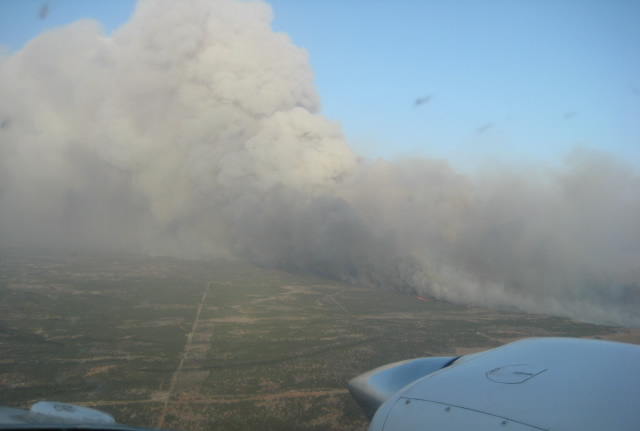 A picture of the Swenson fire in Stonewall County taken on April 7, 2011.  Photo is courtesy of the Texas Forest Service.