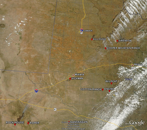 MODIS Satellite imagery of the burn scars across West Texas on Monday, April 11, 2011.