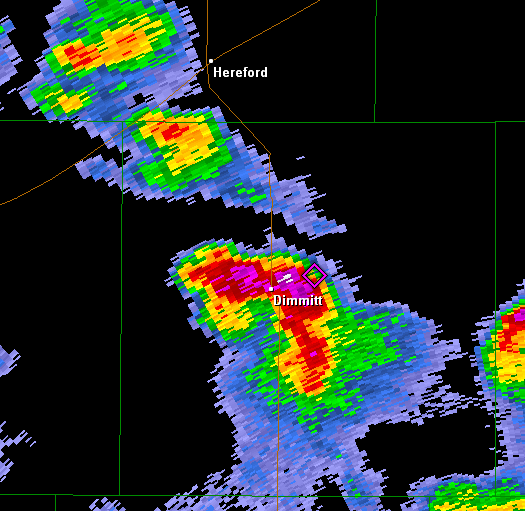 Radar imagery from the Lubbock WSR-88D of the Dimmitt Storm