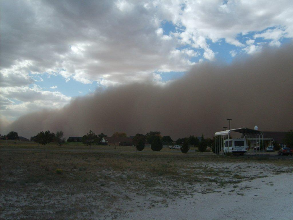 Image capturing a wall of dust as it moved through Muleshoe around 4:30 pm on 17 October 2011. The picture is courtesy of Jack Rennels. Click on the image for a larger view.