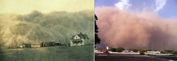 "Left: Image of a large haboob approaching Stratford, TX, during the height of the Dust Bowl on ""Black Sunday"" on 14 April 1935. Right: Image of the haboob as it approached the Science Spectrum in south Lubbock on 17 October 2011. The similarities are striking. Click on the image for a larger view."
