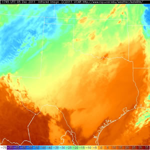 Infrared satellite picture taken at 11:45 am CST 5 December 2011. Click on the image for a larger view.
