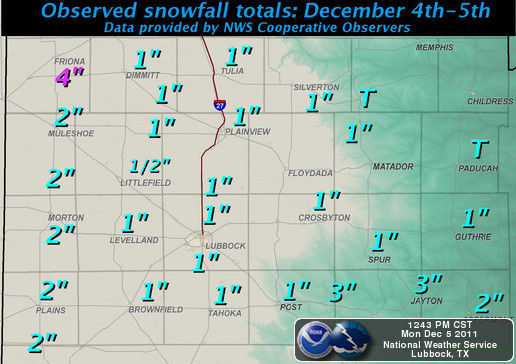 Observed snowfall totals, as reported to the National Weather Service (NWS), for 4-5 December 2011. The data is courtesy of the NWS Cooperative Observers, valid the morning of the 5th. Click on the map for a bigger view.