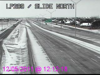 View of road conditions in and around Lubbock near noon on 5 December 2011. Image courtesy of TXDOT.
