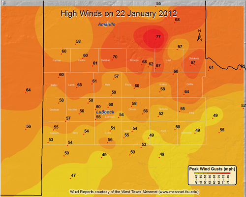 Plot of maximum wind gusts (mph) observed on 22 January 2012. Data are coutesy of the West Texas Mesonet (WTM) and the National Weather Service (NWS). Click on the map for a larger view.