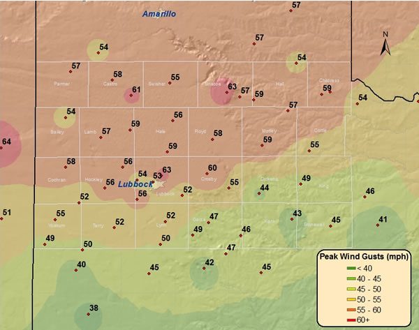Plot of the maximum wind gusts (mph) observed across the region on 20 February 2012. The data is courtesy of the West Texas Mesonet and the National Weather Service. Click on the image for a larger view.