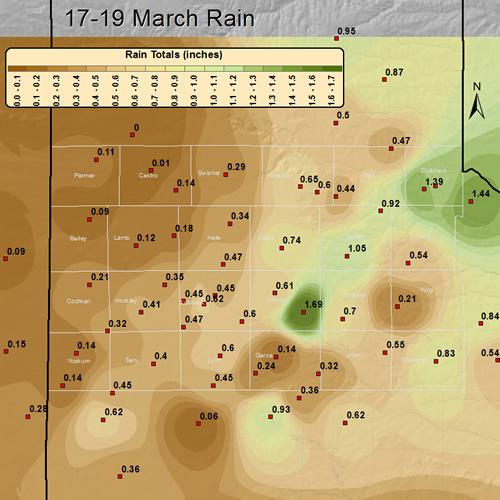 Image of the rainfall which fell across the South Plains area 17-19 March 2012