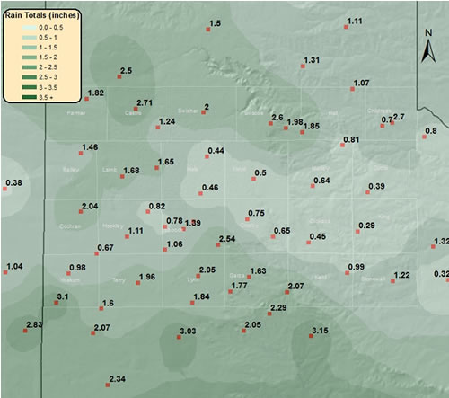Observed rainfall totals for the beginning half of May (1st through the 14th). The data is courtesy of the West Texas Mesonet and that National Weather Service. Aside from a couple spots, all of the rain fell between the 7th and the 14th. Click on the plot for a larger view.