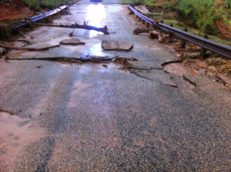 Washed out roadway at Caprock Canyons State Park
