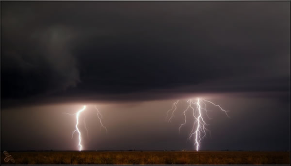 Picture of lightning taken in eastern Hale County shortly after sunset on 12 October 2012. The picture is courtesy of Erin Shaw. Click on the image for a larger view.