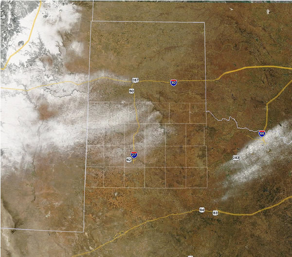 satellite image of snow field across eastern New Mexico and West Texas