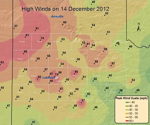 Plot of the maximum winds (mph) recorded on 14 December 2012. Data are courtesy of the West Texas Mesonet and the National Weather Service. Click on the map for a larger view.