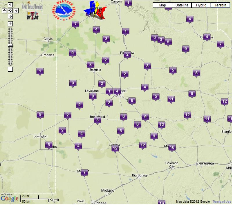 Wind chill readings as of 10:00 pm Christmas night. Courtesy of the West Texas Mesonet.