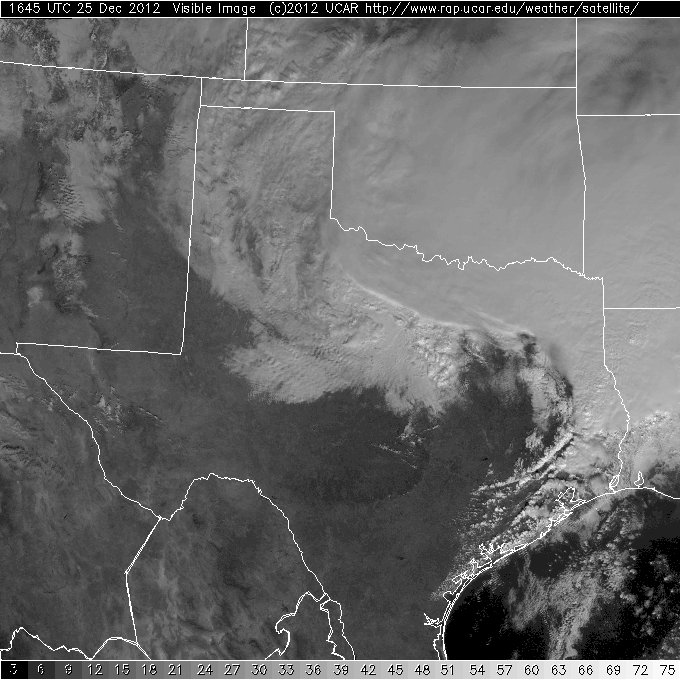 Visible satellite imagery from 10:45 am Christmas morning.