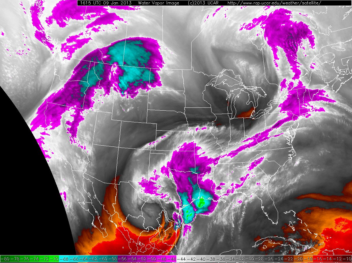 Water vapor satellite image captured at 10:15 am on 9 January 2013. Click on the image for a bigger view.