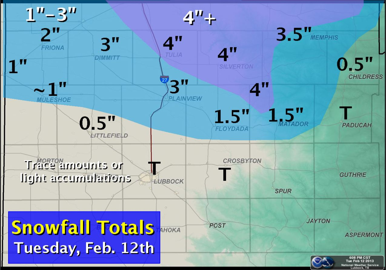 Snowfall totals for February 12, 2013.