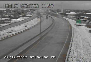 View of snowy conditions in Hale Center on February 12th. The picture is courtesy of TXDOT. Click for a full-size view.