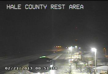 Images captured from near Hale Center during the early morning hours of Thursday, February 21, 2013. The picture shows light accumulations of sleet and snow. The picture is coutesy of TXDOT.