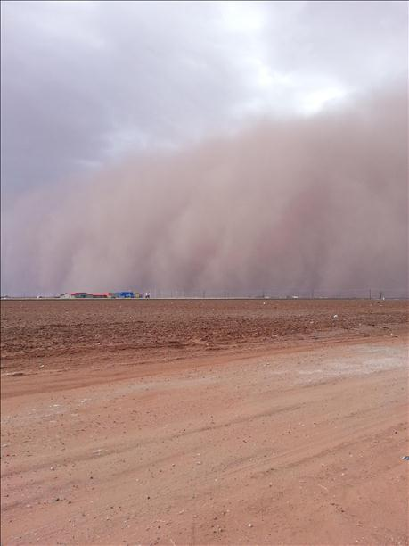 Picture of a wall of dust near Levelland on the evening of 17 March 2013. The picture is coutesy of KCBD.