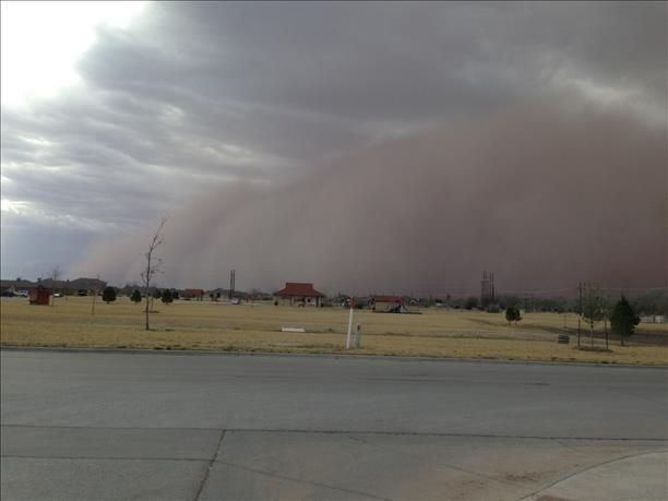 Picture of a wall of dust (haboob) moving through Lubbock during the evening hours on 17 March 2013. Picture is courtesy of KLBK.