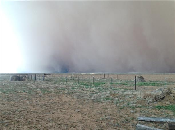Picture of the wall of dust and an embedded vortex near Plainview, Texas, during the evening of 17 March 2013. The image is courtesy of KLBL.