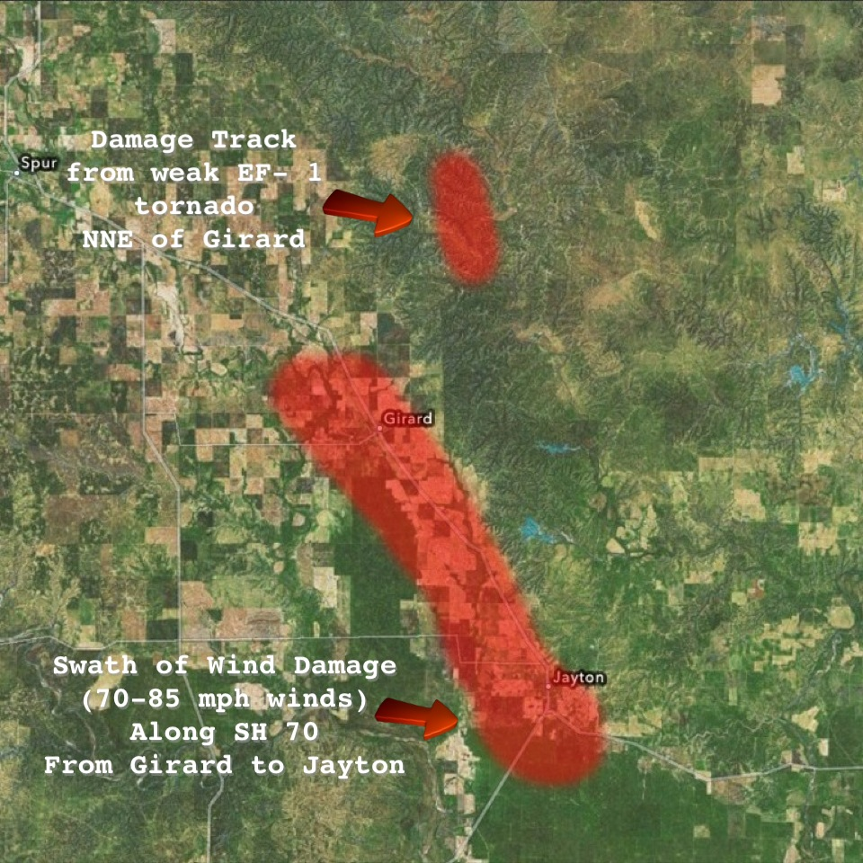 Map displaying the approximate swath of wind damage from near Girard through Jayton from strong straight-line winds on 23 May 2013. Also displayed is the approximate path of a brief tornado north-northeast of Girard. Click on the map for a larger view.