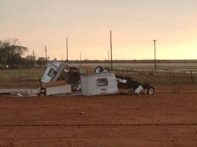 Image of a trailer that was destroyed by the strong winds near Jayton, courtesy of KCBD.