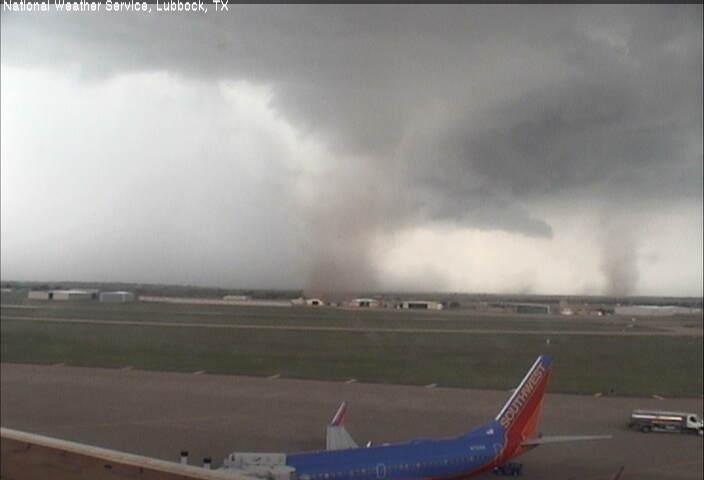 Picture of two simultaneous landspout tornadoes just west of the Lubbock International Airport. The image was captured at 4:47 pm on Thursday August 1st.
