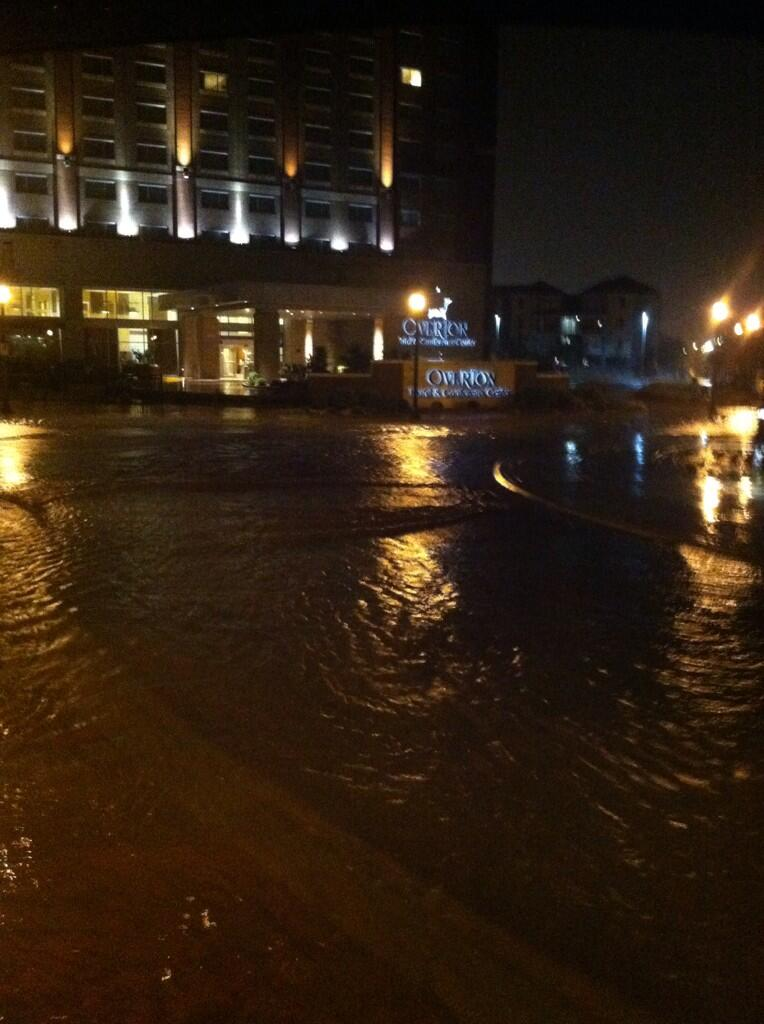 Picture of flooding at the Overton Hotel in Lubbock during the early morning hours on Wednesday. The image is courtesy of Cole Bengford. Click on the image for a bigger view.
