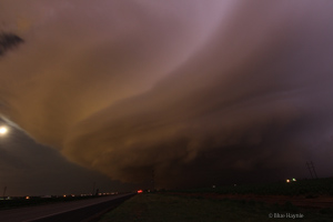 Photograph of the supercell thunderstorm over southern Hale County. Click on the image for a larger view.
