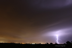 Photo of the supercell thunderstorm as it approached Lubbock from the north. Click on the image for a larger view.