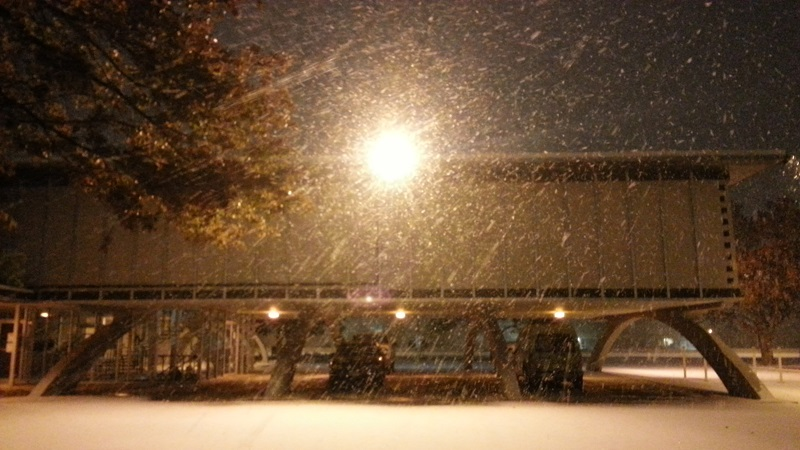 Photo of snow falling Saturday night at the Science Spectrum in Lubbock