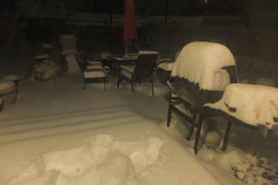 Photograph of a snow-covered back porch from our Co-op observer in Muleshoe.