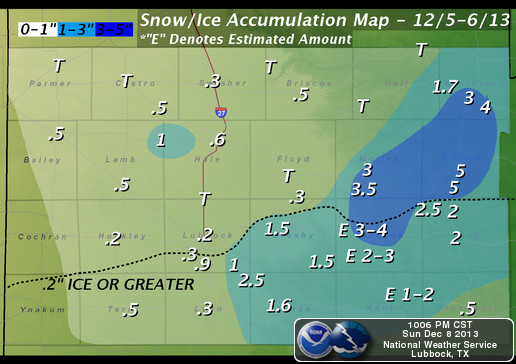 Storm total snow, sleet, and ice accumulations for December 5th-6th, 2013