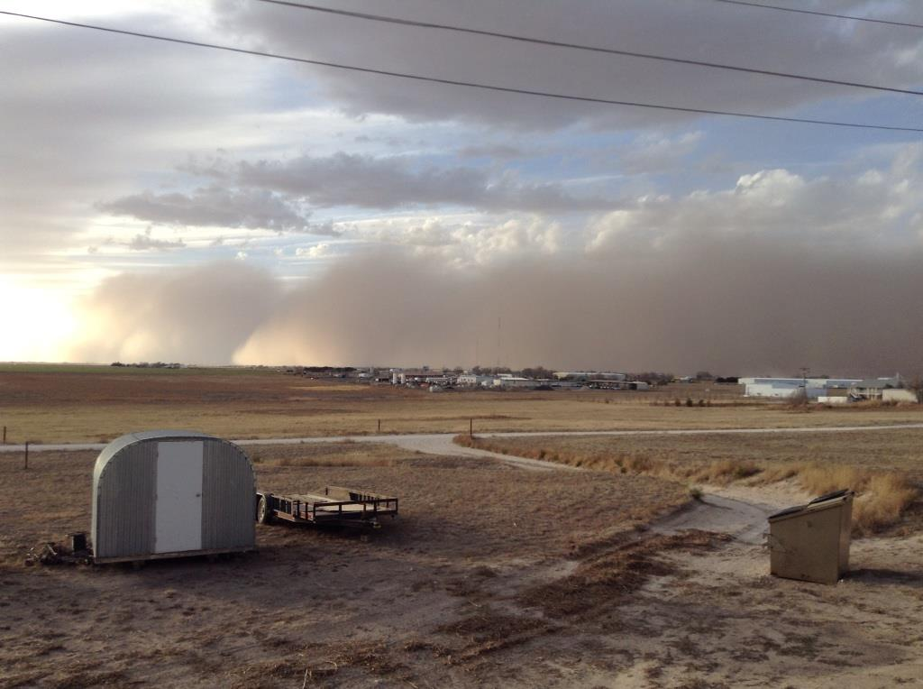 Picture of the Haboob approaching Muleshoe on the evening of March 11, 2014. The image is courtesy of Eric Bales.