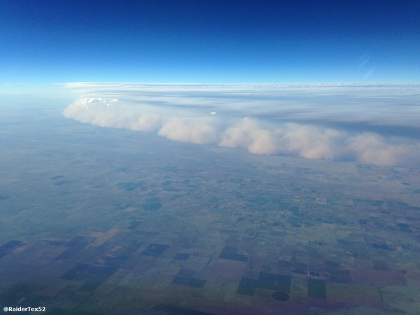 View of the Haboob northwest of Amarillo, looking down from a plane. The picture is courtesy of @RaiderTex52.