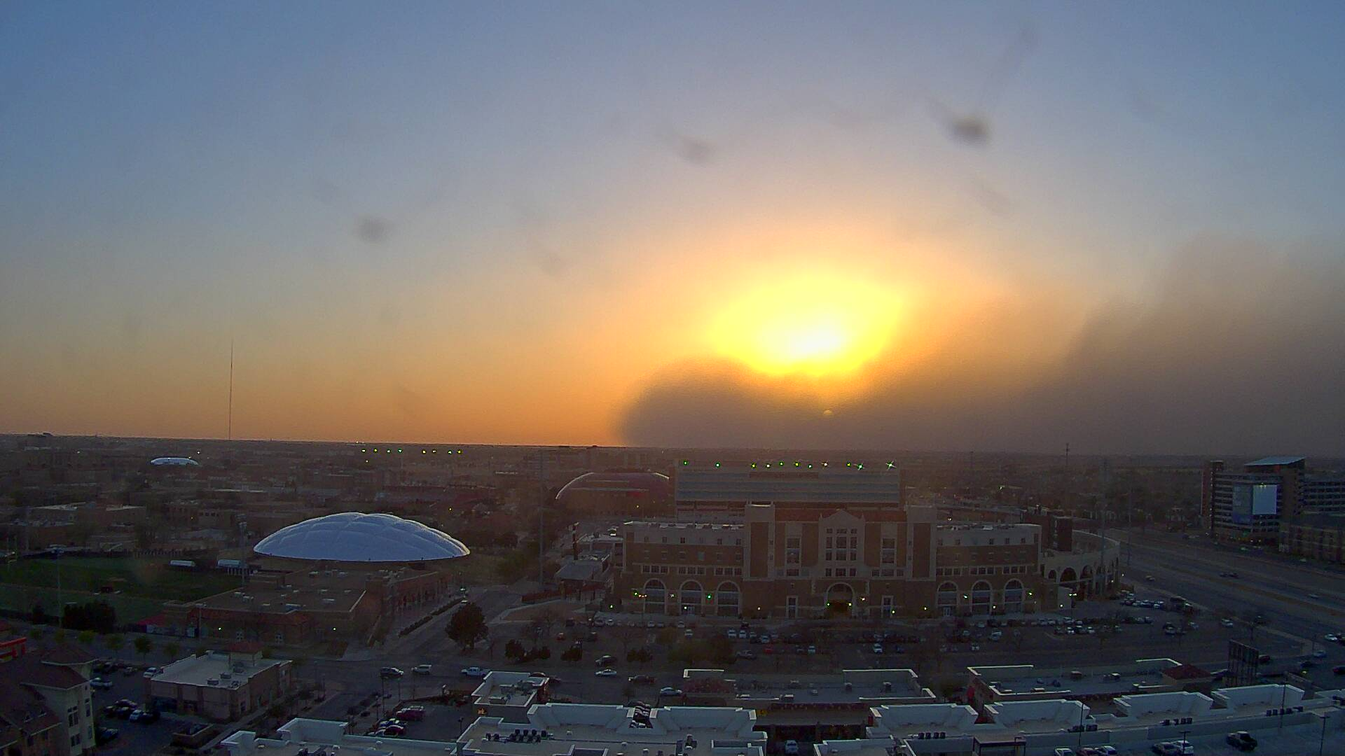 Picture of dust along the leading edge of a cold front as it was moving through Lubbock near sunset. The image was captured from the Overton Hotel, looking west at 8 pm. The picture is courtesy of KAMC.
